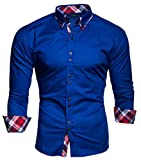 Kayhan Musterärmel Herren-Hemd Slim-Fit Langarm-Hemden S-6XL
