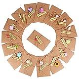 (17.5CM x 11CM) 16 Stück Grußkarte Dankskarten Einladungskarte Geschenk Umschlag Retro Kraftpapier Karte und Umschlag Blanko mit Getrocknete Blumen