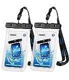 Mpow Wasserdichte Handyhülle 2 Stücke, Handytasche Wasserdicht, Staubdichte Schutzhülle für iPhone X/XR/XS/XS MAX/8/7/6/6s/6splus/Galaxy S9/S8/S7/S7edge/S6/S/P10/P8/P9 usw. bis 6,5 Zoll