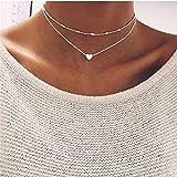 Elistelle Koedu with Pendant Collar Choker Necklace for Men Silver Mehrr Row Chain
