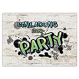10 EINLADUNGEN zum Geburtstag PARTY GRAFFITI/Einladungskarten zur Party/Einladungskarten Kindergeburtstag