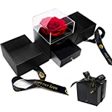 E-MANIS Schönheit und das Biest Rose Handgemachte konservierte Rose Schmuck Geschenkbox Nie verwelkte Rosen Ewige Blume für Liebhaber Geschenk für Sie AmValentinstag Muttertag Weihnachtstag