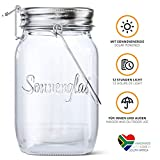SONNENGLAS Classic 1000ml | Original Solarlampe/Solar-Laterne im Einmachglas aus Südafrika (inkl. USB) | warmweiß | Fair Trade | Bekannt aus Pro7 Galileo