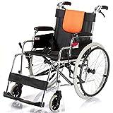 JU FU Rollstuhl faltbar Luftreifen Handschieberollstuhl Seniorenreise Leichtaluminiumlegierung  