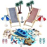 Miniatur Dekoration, 16 Pcs Strand-Mikrolandschaft für Geburtstagsgeschenk, Sonnenschirmen, Miniliegestuhl, Booten usw