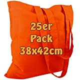 Cottonbagjoe Baumwolltasche Jutebeutel unbedruckt mit Zwei Langen Henkeln 38x42cm (Orange, 25 Stück)