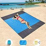 HISAYSY Stranddecke, 210 x 200 cm Sandfreie Picknickdecke Campingdecke Strandtuch, wasserdichte sandabweisende Camingmatte, schnell troknend Campingdecke für Camping, Wandern