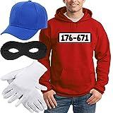 Shirtgeil Panzerknacker Banditen Kostüm Hoodie + MÜTZE + Maske + Handschuhe Kapuzenpullover Hoodie Large Rot