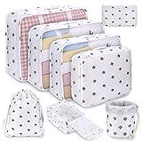 Koffer Organizer Set 8-teilig, kleidertaschen für Kleidung Kosmetik Schuhbeutel Kabel Aufbewahrungstasche, Reisen Organizer Tasche,Weiß