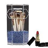 YUMEIGE Kosmetische Aufbewahrungsbox Plastische, kosmetische Tube Transparent Hexagonal Cosmetic Bleistifthalter, kosmetische Augenbrauenstift Lagerung, for Badezimmer Makeup Table-Aufbewahrungsbehält