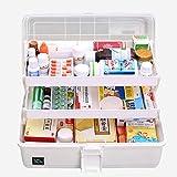 Hausapotheke Schrank, Likeluk Medizinbox Kunststoff 3 Ebene transparente Erste Hilfe Box Multifunktions Sortierkasten mit Griff, 33×18×17.5cm (Weiß)