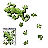 JAS Stickers® Gecko Tier Auto Aufkleber - Grün - Süße Eidechse Fußabdrücke Kleine Vinyl Aufkleber Pack für Laptop Gepäck Fahrrad Caravans van Wohnmobile Boote - ST00031GR_SML