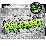 VULAVA 12x EINLADUNGSKARTEN für Party und Kindergeburtstag - die Karten im frech bunten Graffiti Design sind die perfekte EINLADUNG für Jungen Mädchen Kinder zum Geburtstag Einschulung u. KINDERPARTY